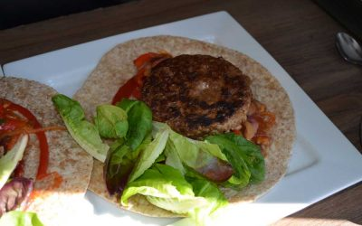Burger and Beans Wrap With Salad Leaves