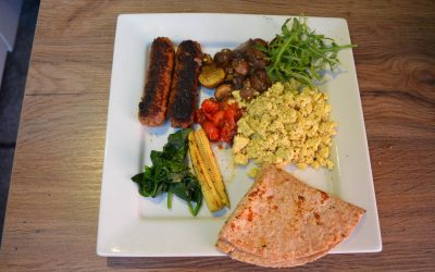 Vegan Breakfast Sausages and Tofu Scramble