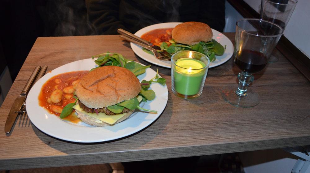 Simple Vegan Dinner-Burger and Bean Salad