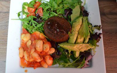 Vegan Falafel Burger With Avocado and Baby Leaf Salad